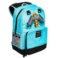 "Рюкзак Майнкрафт - Minecraft Pickaxe Adventure Kids Backpack (Blue, 17"") School"